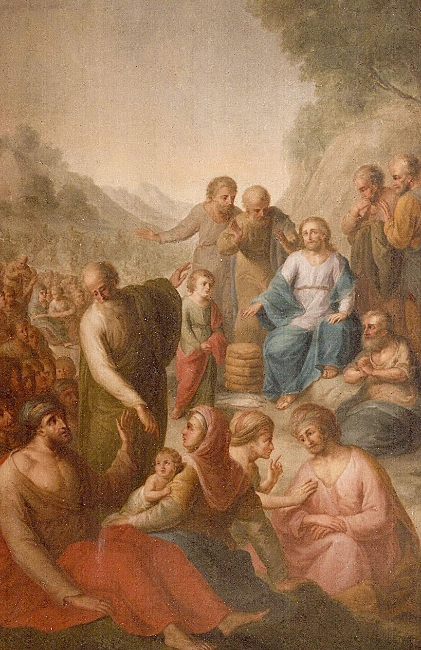 Huile sur toile 220X120 cm - Multiplication des pains et des poissons - Eglise Saint-Grégoire à Stenay (France)